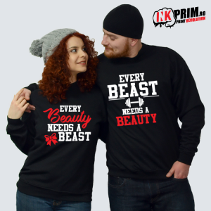 Set Sweatshirt Cuplu - Every Beast Needs A Beauty