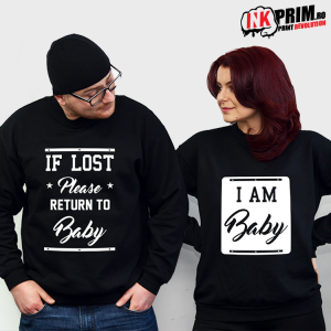 Set Sweatshirt Cuplu - If Lost Please Return To Baby