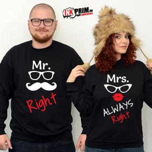 Set Sweatshirt Cuplu - Mr & Mrs Right