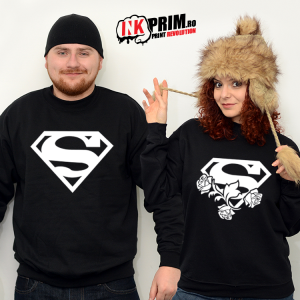 Set Sweatshirt Cuplu - Superman & Superwoman (trandafiri)