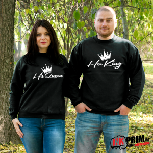 Set Sweatshirt Cuplu - Her King & His Queen