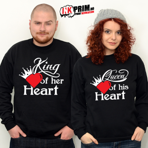 Set Sweatshirt Cuplu - King of her heart & Queen of his heart