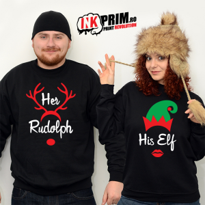 Set Sweatshirt Cuplu - Her Rudolph & His Elf