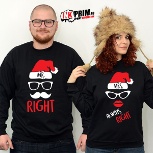 Set Sweatshirt Cuplu - Mr. Right & Mrs. Always Right ( Crăciun )