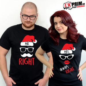 Set Tricouri Cuplu - Mr. Right & Mrs. Always Right ( Crăciun )
