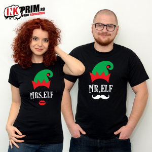 Set Tricouri Cuplu - Mr & Mrs Elf