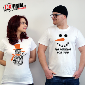 Set tricouri personalizate cuplu - Some People Are Worth Melting For & I`m Melting For You