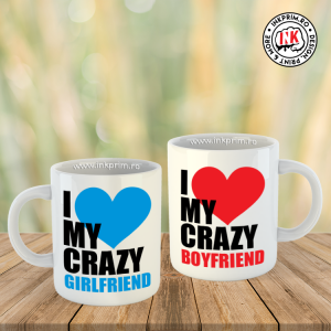Set Căni Cuplu - I Love My Crazy Girlfriend & I Love My Crazy Boyfriend