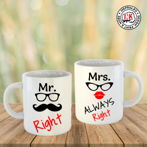 Set Căni Cuplu - Mr. Right & Mrs. Always Right