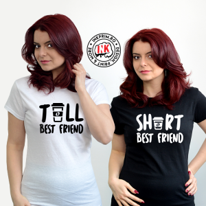 Set tricouri personalizate BFF - Tall Best Friend & Short Best Friend