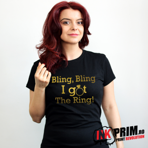 Tricou Mireasă GOLD - Bling, Bling I Got The Ring!