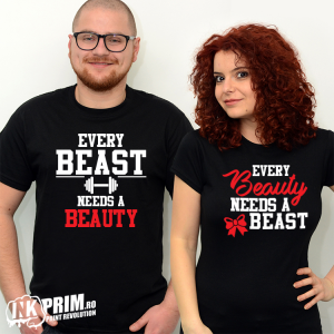 Set tricouri personalizate cuplu - Every Beast Needs A Beauty
