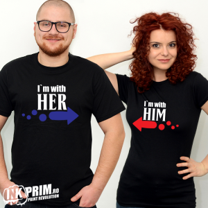 Set tricouri personalizate cuplu - I`m With Her & I`m With Him