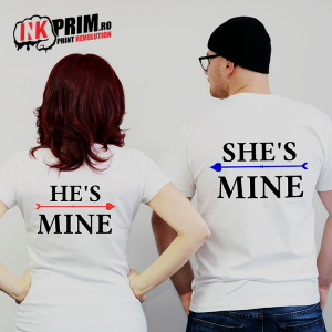 Set tricouri personalizate cuplu - He is Mine & She is Mine