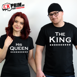 Set tricouri personalizate cuplu - The King & His Queen
