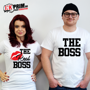 Set tricouri personalizate cuplu - The Boss & The Real Boss