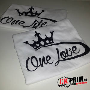 Set tricouri personalizate cuplu - One Life & One Love
