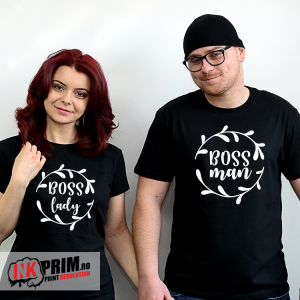 Set tricouri personalizate cuplu - Boss Lady & Boss Man