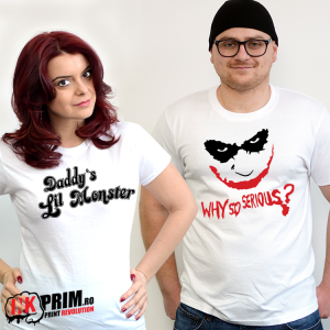 Set tricouri personalizate cuplu - Joker & Harley Quinn - Why So Serious? & Daddy`s Lil Monster