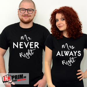 Set tricouri personalizate cuplu - Mr. Never Right