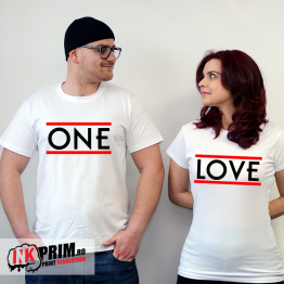 Set tricouri personalizate cuplu - One Love