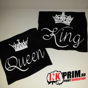 Set tricouri personalizate cuplu - King & Queen