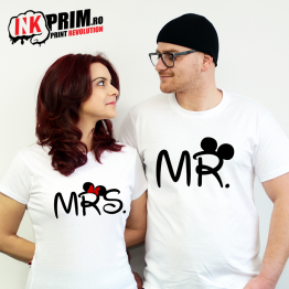 Set tricouri personalizate cuplu - Mr. & Mrs. Mouse