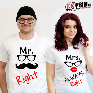 Set tricouri personalizate cuplu - Mr. Right & Mrs. Always Right