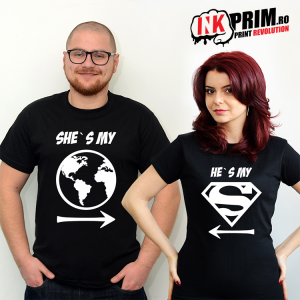 Set tricouri personalizate cuplu - My World & My Superman